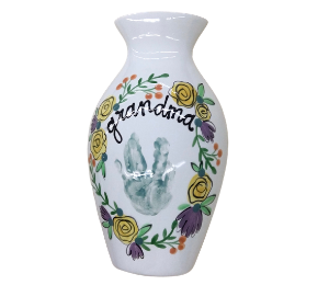 Naperville Floral Handprint Vase